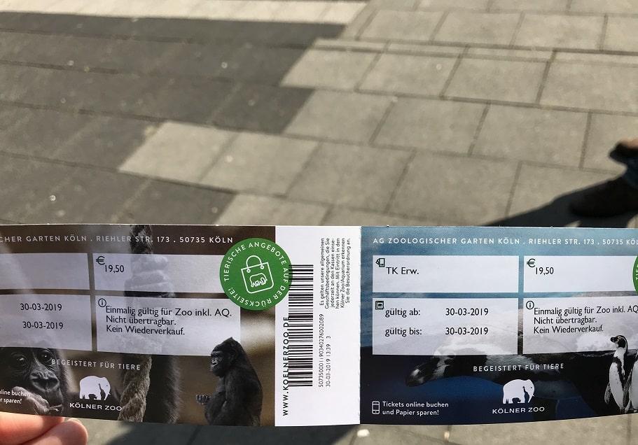 ケルン動物園のチケット