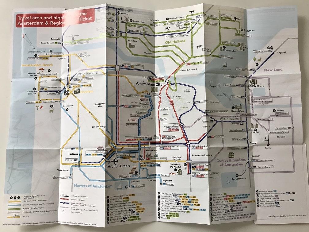 アムステルダム&リージョントラベルチケットマップ