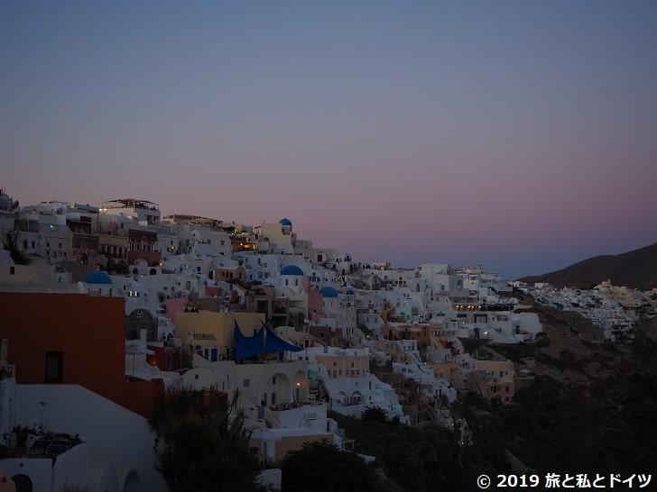 日没後のイアの街並み