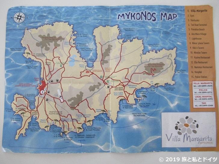 ミコノスのビーチマップ