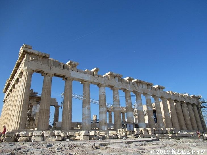パルテノン神殿を横から見た様子