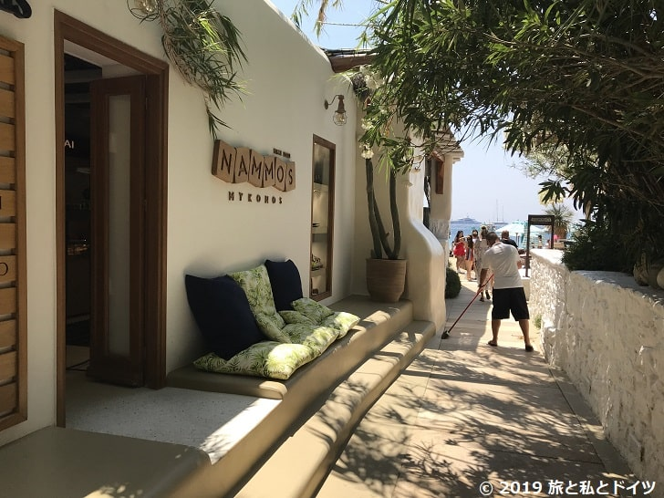psarouビーチの入口
