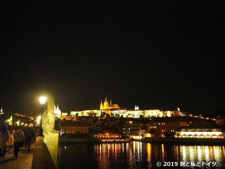プラハカレル橋からのプラハ城夜景
