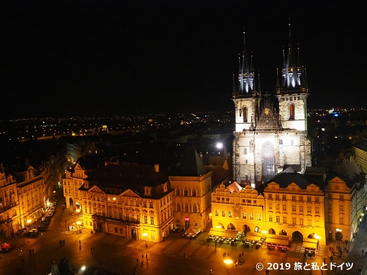 プラハ時計塔からの夜景