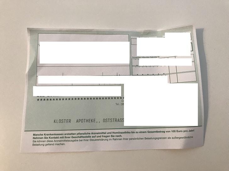 ドイツの病院でもらう紙