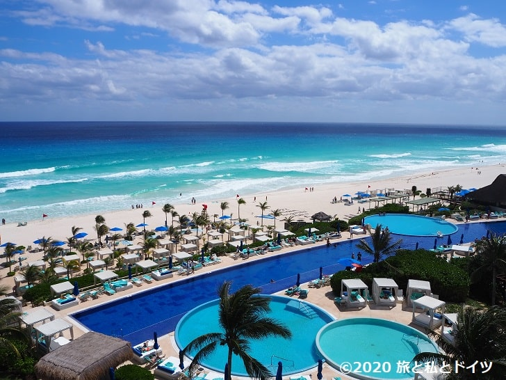 ライブアクアビーチリゾートカンクンのテラスからの眺め