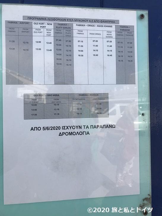 ミコノス島バススケジュール