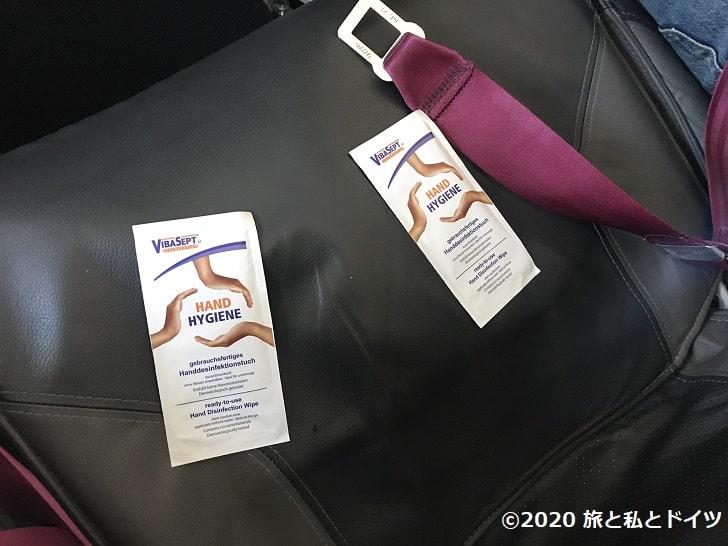 ユーロウィングスで配布された除菌シート