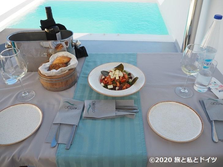 ホテル「Maregio Suites」の夕食